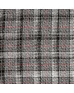 WOOL/COTTON/CASHMERE CHECK GREY/RED