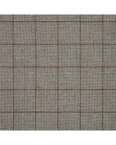 WOOL/COTTON/CASHMERE WINDOWPANE SILVER/RED