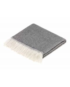 ALPACA DIAM HBONE GREY THROW
