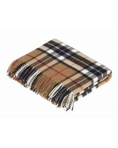 CAMEL THOMPSON TARTAN THROW