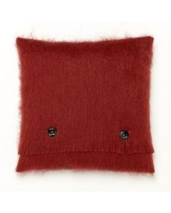 LACQUER RED MOHAIR CUSHION