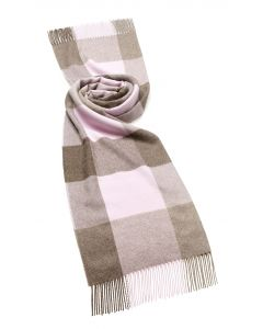 CHOCOLATE/PINK CHECK ALPACA STOLE