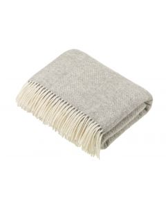 NATURAL HERRINGBONE GREY THROW